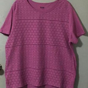 """Basic Editions """"Purple"""" Eyelet Shirt"""